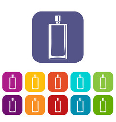 Scent bottle icons set flat vector