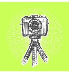 Single-lens reflex camera on tripod vector image