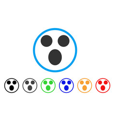 surprized smile rounded icon vector image