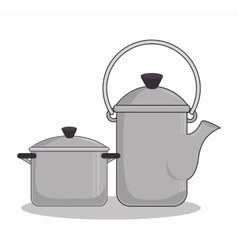 Teapot kitchen metal isolated icon vector
