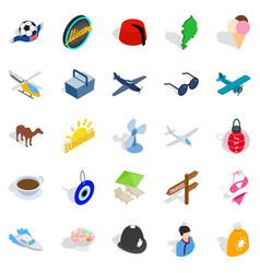 touring icons set isometric style vector image vector image