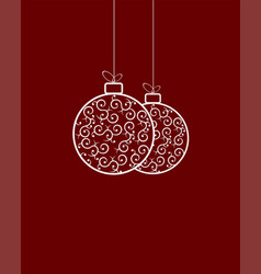 two white christmas retro ball vector image
