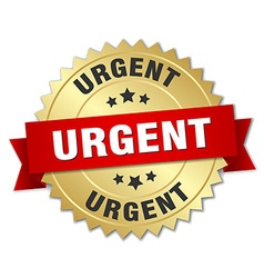 Urgent 3d gold badge with red ribbon vector