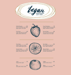vegetarian restaurant menu hand drawn design vector image