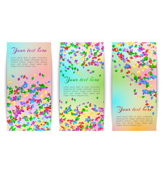 vertical banners with confetti vector image vector image