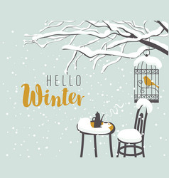 Winter street cafe under tree with bird in cage vector