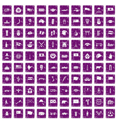 100 national flag icons set grunge purple vector
