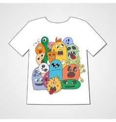 T-shirt with abstract set of monsters vector