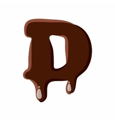 Letter D from latin alphabet made of chocolate vector image