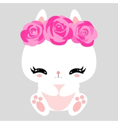 Little cute white bunny with pink roses romantic vector