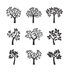 Collection black trees vector