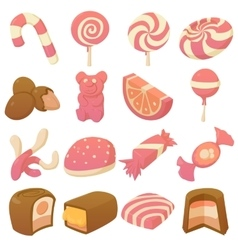 Sweets and candies icons set cartoon style vector