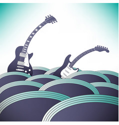Two guitars swim in an ocean of music vector
