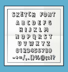 Sketch font set on paper abc sign vector