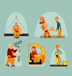 six workers set vector image