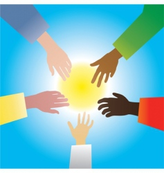 Five hands of different races vector