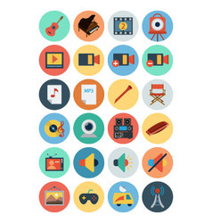 Multimedia flat icons 5 vector