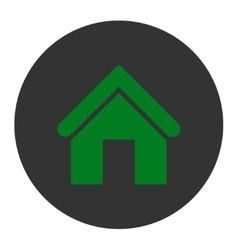 Home flat green and gray colors round button vector