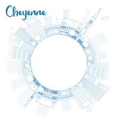 Outline cheyenne wyoming skyline vector