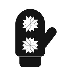 Santa mitten simple icon vector