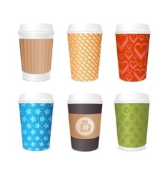 Coffee cups template set vector