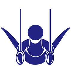Gymnastics with rings icon in blue vector