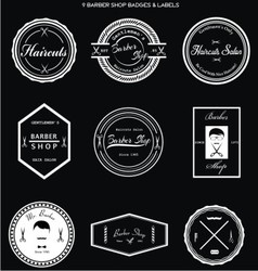 Barber shop badges labels vector