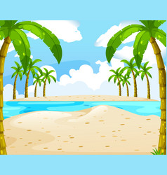 beach with coconut trees vector image vector image