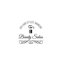 beauty salon badge nail polish makeup filigree vector image vector image