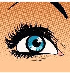 blue woman eye looking up vector image vector image
