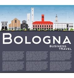 Bologna Skyline with Landmarks Blue Sky vector image vector image