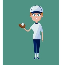 Cartoon girl baseball player glove ball and cap vector