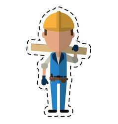 Cartoon man construction wooden board and tool vector