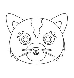 cat muzzle icon in outline style isolated on white vector image