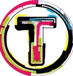 Colorful grunge font letter t vector