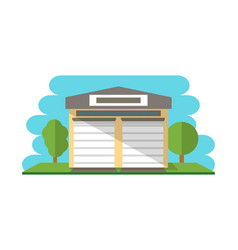 Commercial storehouse building isolated icon vector