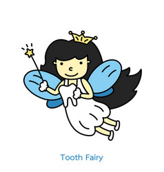 Cute tooth fairy flying with teeth vector
