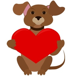 Dog with red heart vector