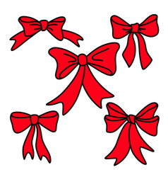 doodle red gift bows for christmas or birthday vector image