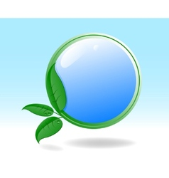 eco icon with green leaves vector image vector image
