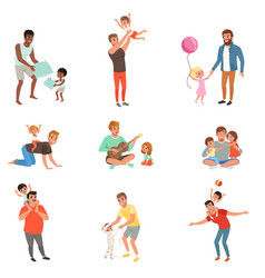 Fathers playing having fun together and enjoying vector