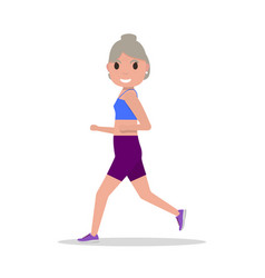 Flat cartoon old woman running jogging vector