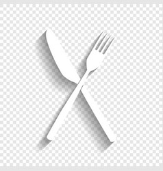 Fork and knife sign white icon with soft vector