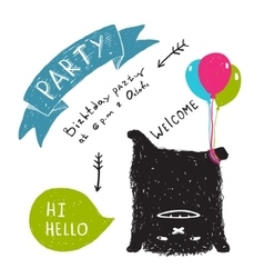 Funny Cute Little Black Monster Party Greeting vector image