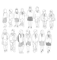 Group of walking students vector image