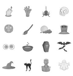 Halloween icons set black monochrome style vector image