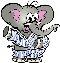 Hand-drawn of an Happy Baby Elephant in Pajamas vector image vector image