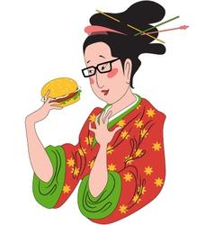 Japanese woman eating hamburger vector image