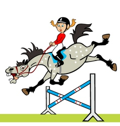 Little girl with horse jumping a hurdle vector