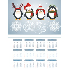 Merry Christmas card with penguins vector image